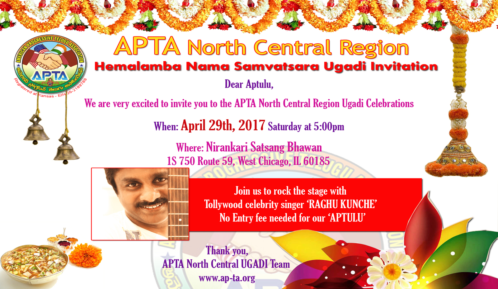 APTA North central region Ugadi Invitation 2017